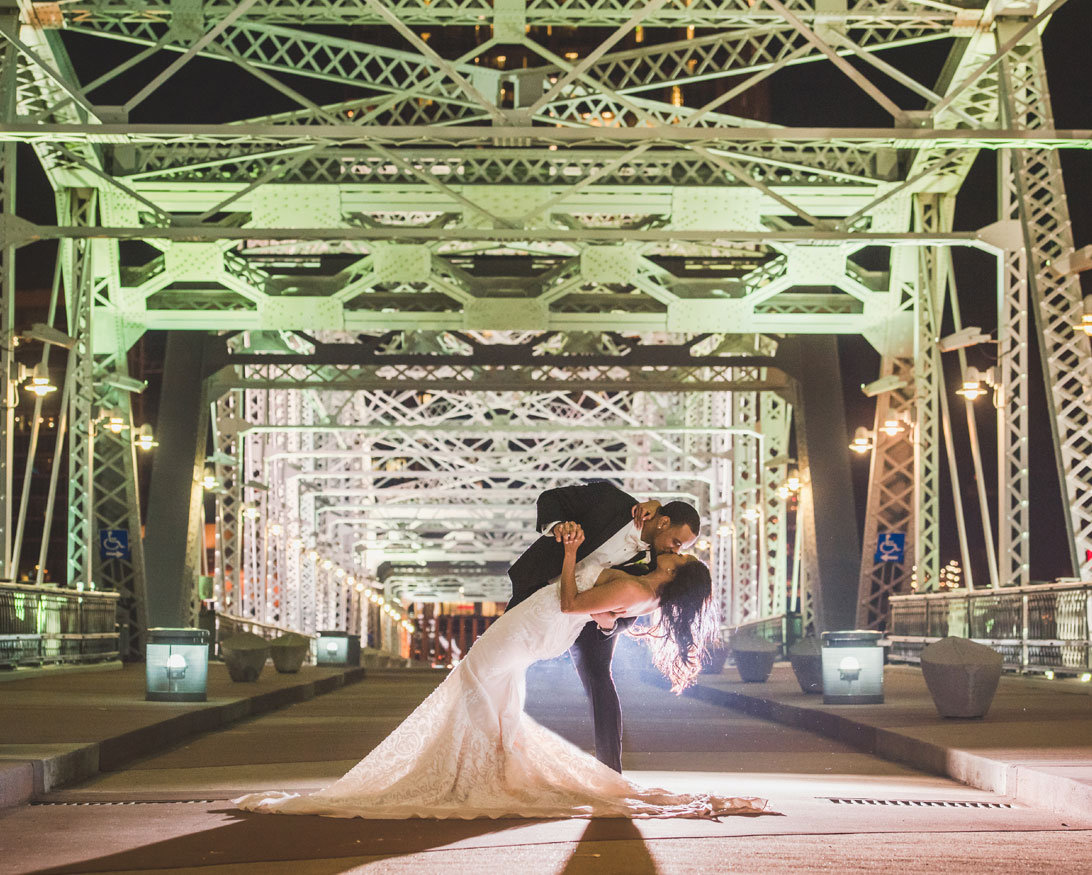 Bride and Groom at The Bridge Building
